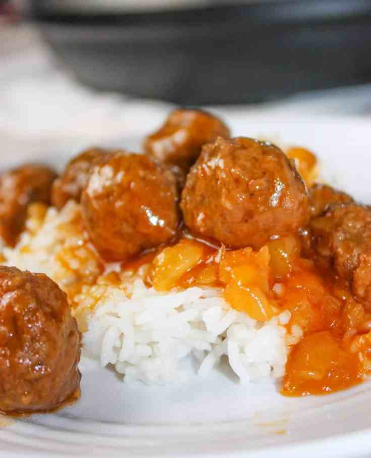 Instant Pot Hawaiian Meatballs and Rice is an easy and delicious recipe that can quickly be prepared for a week night meal.  This pressure cooker recipe is loaded with pineapple and spices to wake up those taste buds!