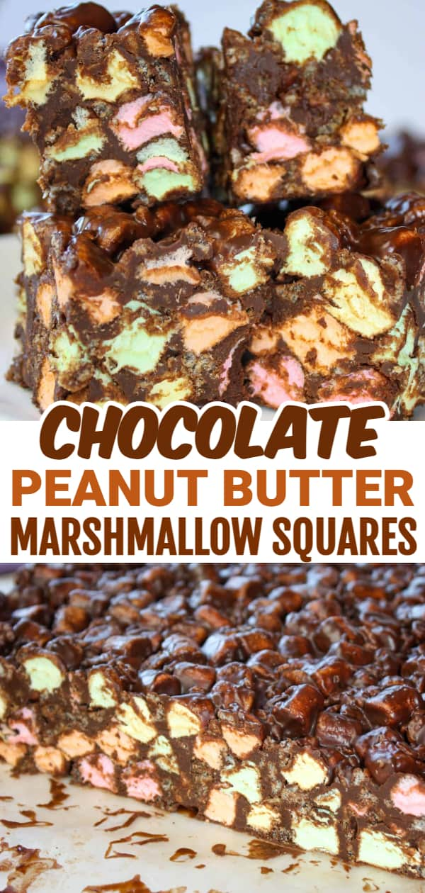 Chocolate Peanut Butter Marshmallow Squares are an easy and delicious dessert recipe made with peanut butter, chocolate chips and loaded with colourful mini marshmallows.