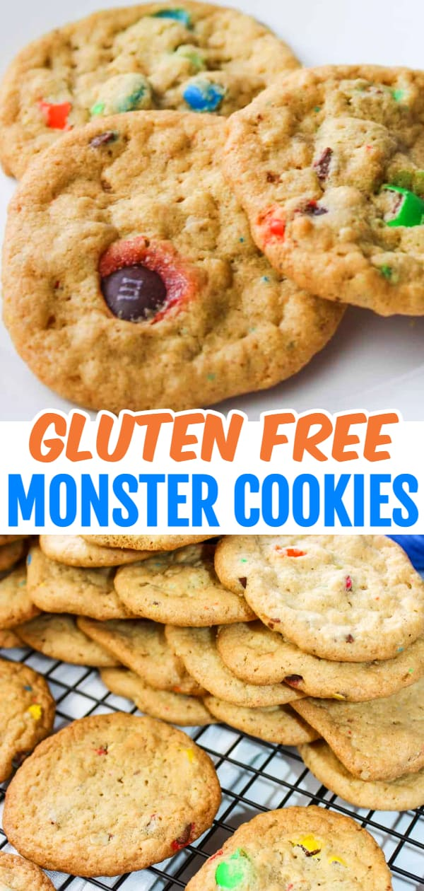 Gluten Free Monster Cookies are a tasty combination of peanut butter and oatmeal loaded with M&Ms.