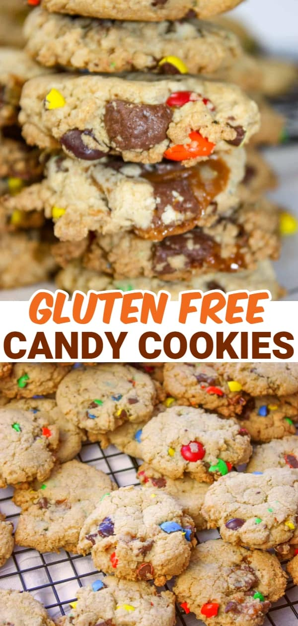 Candy cookies are a nice crunchy cookie base loaded with oatmeal, M & M candies and chewy Turtles chocolates. This gluten free dessert, or snack, is sure to be a hit in your home.