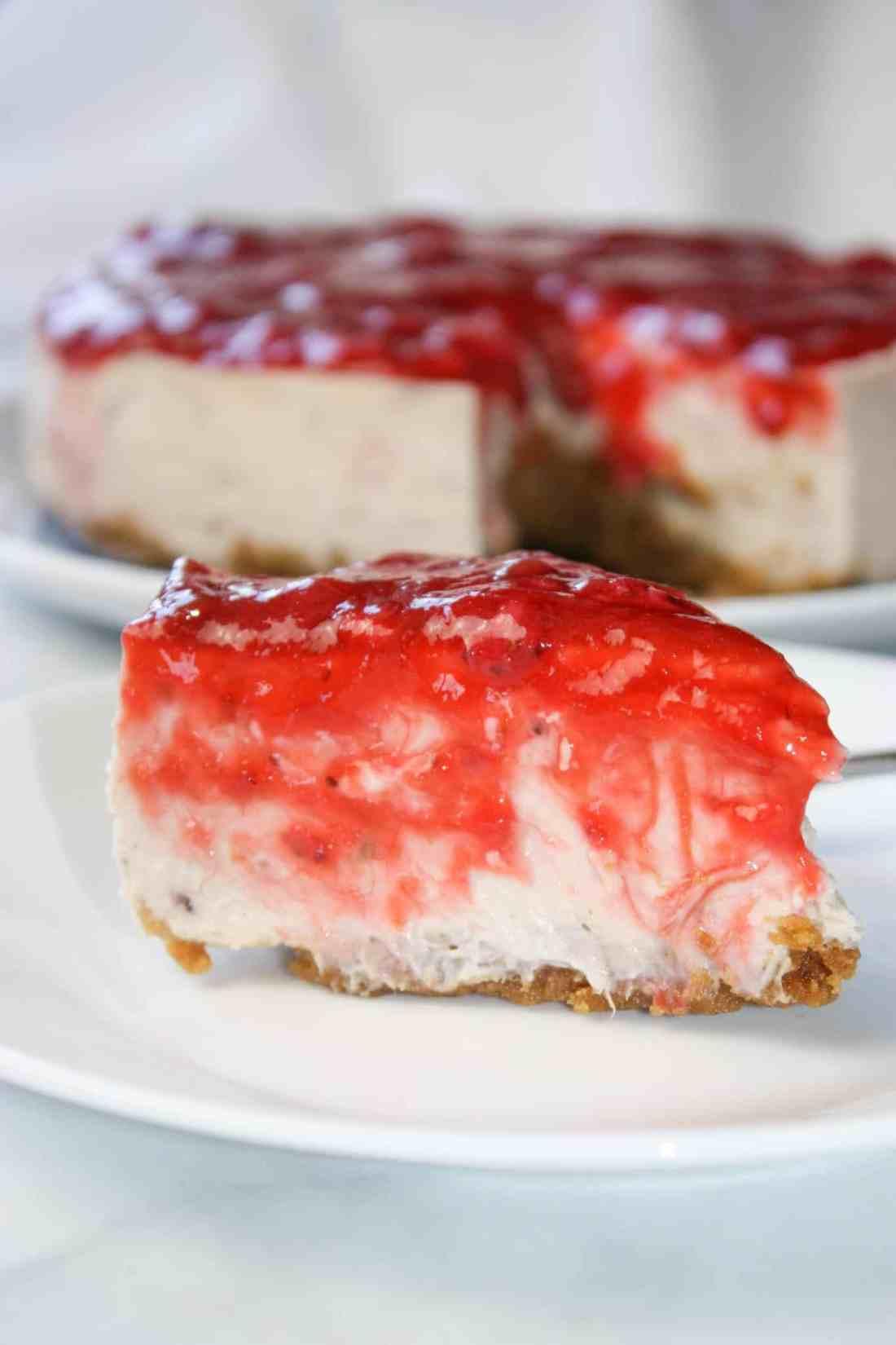 Instant Pot Strawberry Rhubarb Cheesecake is a delightful, decadent dessert using seasonal ingredients.