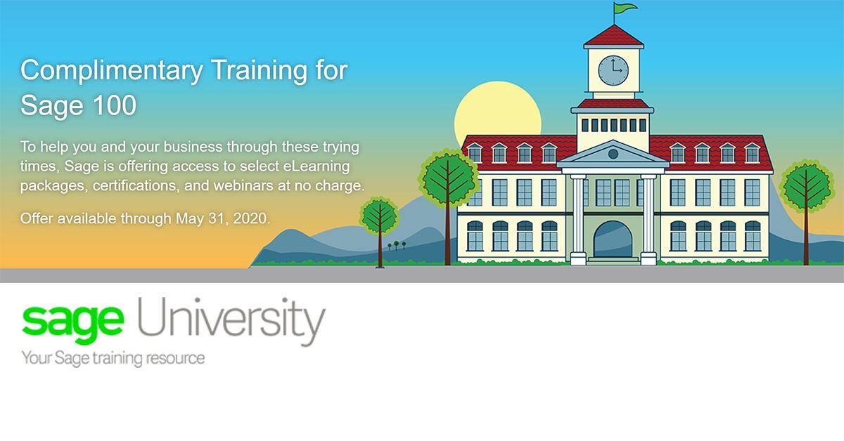 Sage 100 training free through Sage University through 5/31/20