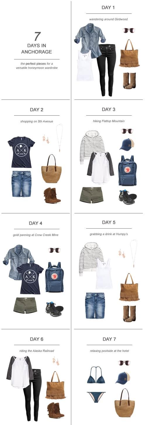 7 Days in Anchorage : The Perfect Pieces for a Versatile Honeymoon Wardrobe #travel #packing #capsulewardrobe #Alaska #honeymoon #newlywed #fashion