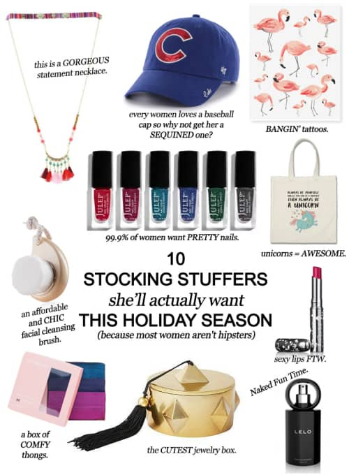 10 Stocking Stuffers She'll Actually Want This Holiday Season (Because Most Women Aren't Hipsters) #christmas #moms #women #giftguide #holiday
