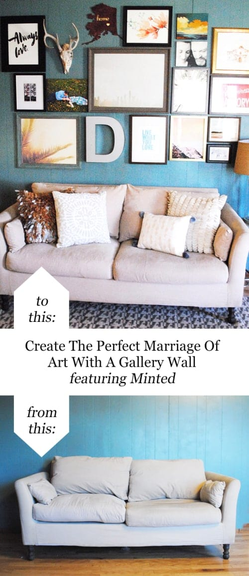 Create The Perfect Marriage Of Art With A Gallery Wall Featuring Minted #FromThisToThis #BeforeAndAfter #ArtGalleryWall #HomeDecor