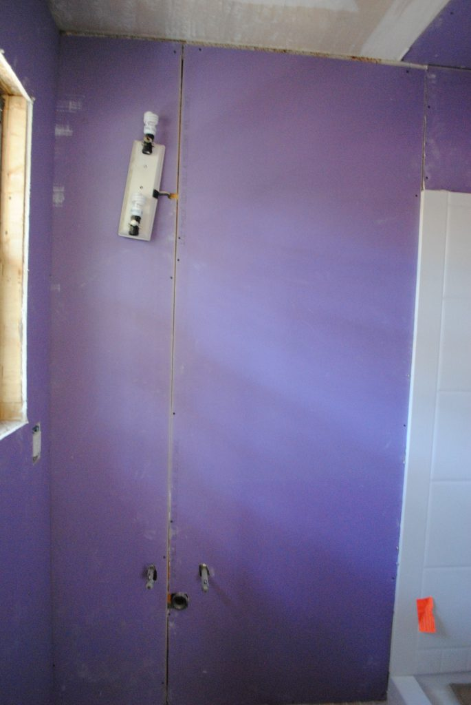 Master Bathroom: Le Walls (OR) How We Straighten and Stuffed Ye Olde House
