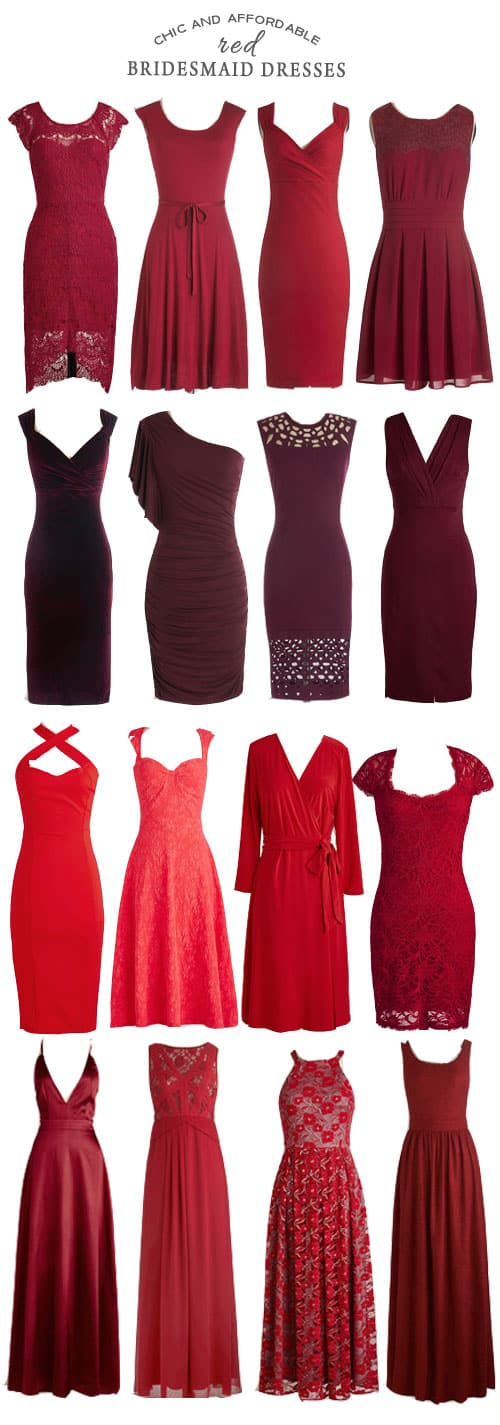 Chic and Affordable Red Bridesmaid Dresses