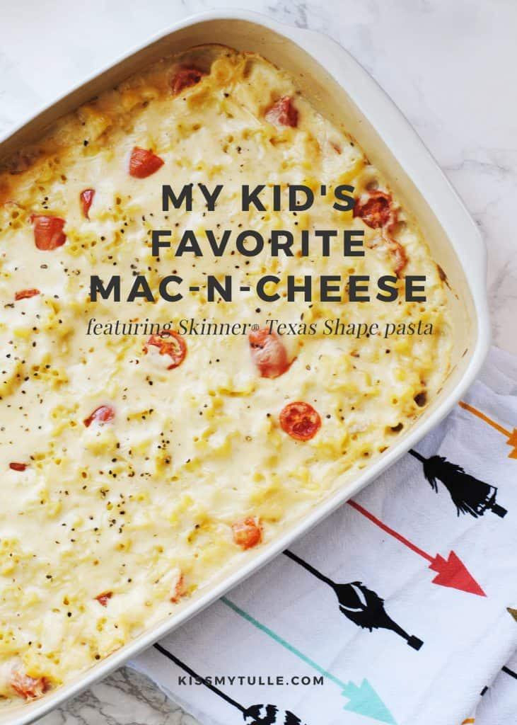 AD My Kid's Favorite Mac-n-Cheese featuring Skinner Texas Shape Pasta #HowdySkinner