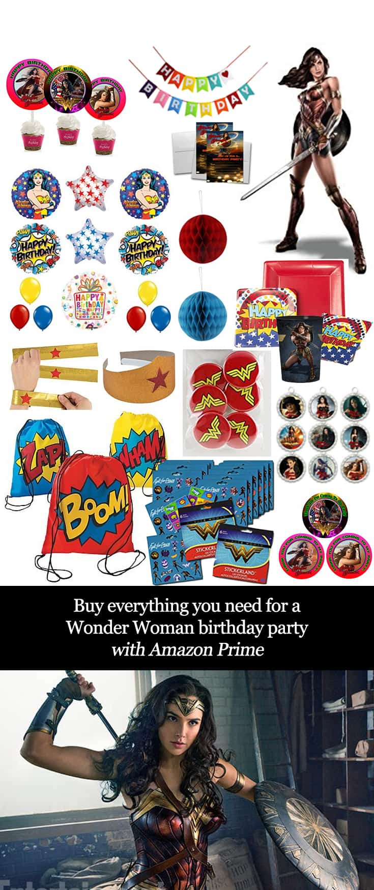 Buy Everything you Need for a Wonder Woman Birthday Party with Amazon Prime