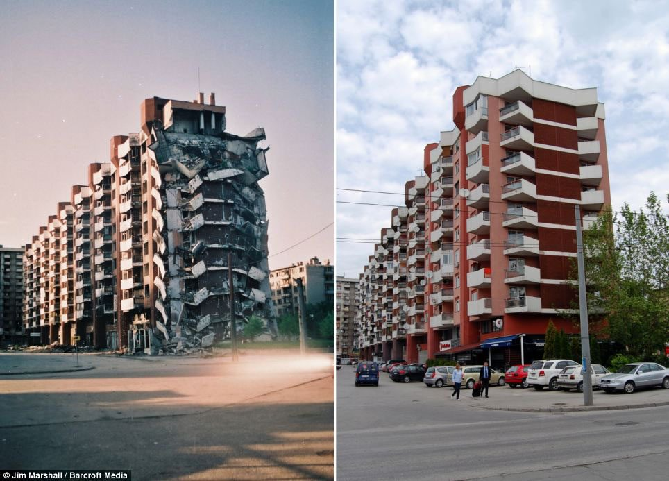The apartment building in Grbavica Emir lives in right after the war and today.