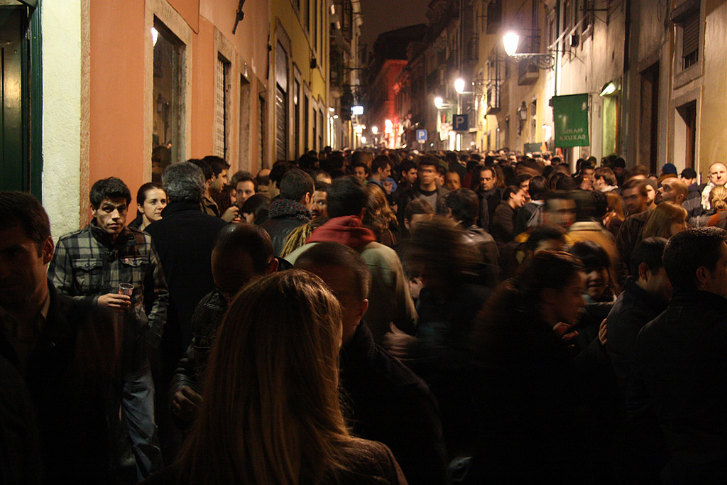 A party night out in Bairro Alto in Lisbon