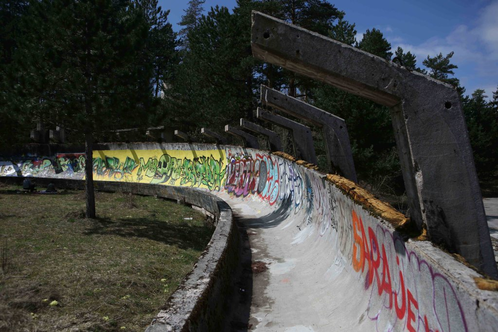 The Olympic Bobsleigh on Trebevic Hill above Sarajevo