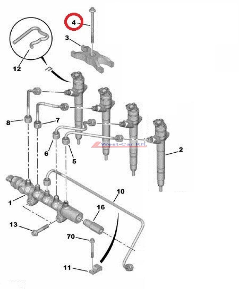 Injektor lefogató csavar Citroen Jumper Peugeot Boxer 2.2HDI