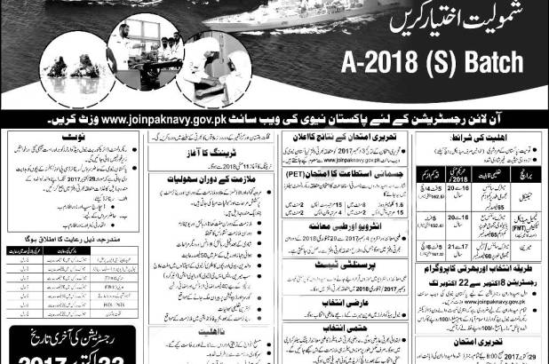 Pak Navy Naval, PN, Civilian, Non/Technical Jobs 2017 Registration Dates & Schedule Written Physical Test