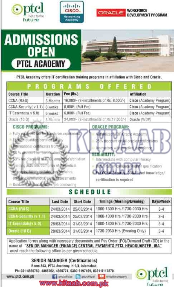 PTCL Academy Admissions Training Program in IT Certification 2016