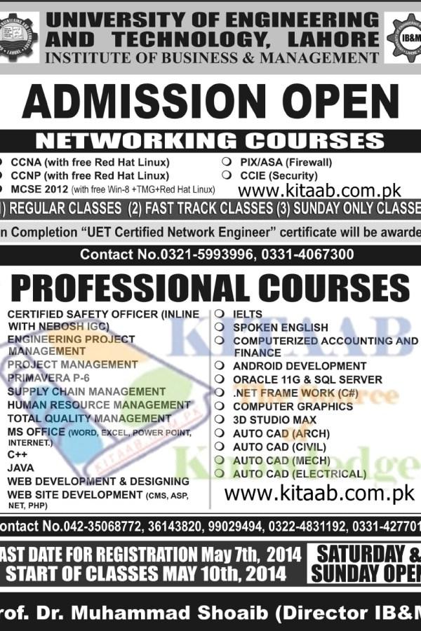 UET Lahore Networking Professional Certificate Courses Admission 2014 Open Regular & Sunday Classes Registration Last Date IB&M