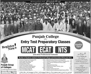 Punjab College Entry Test 2014 Preparation Classes for MCAT ECAT NTS (Engineers, Doctors, IT & Business Manager)