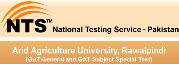 NTS GAT-General and GAT-Subject Special Test 2017 for Arid Agriculture University, Rawalpindi