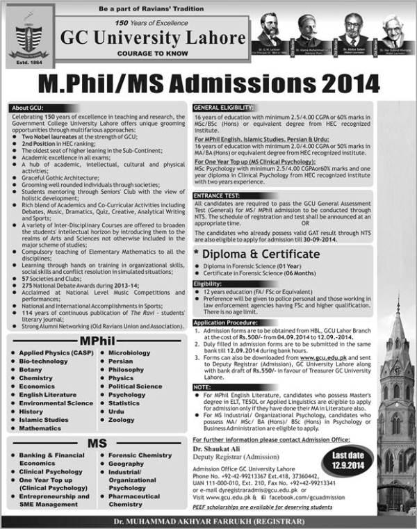 GCU Lahore NTS GAT General Special Test 2017 Eligible Criteria Registration Form Download