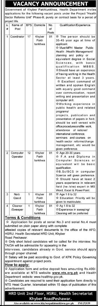 Govt KPK Department Health Sector Reform Unit, IMU Jobs 2015 Phase-III NTS Test Application Eligibility