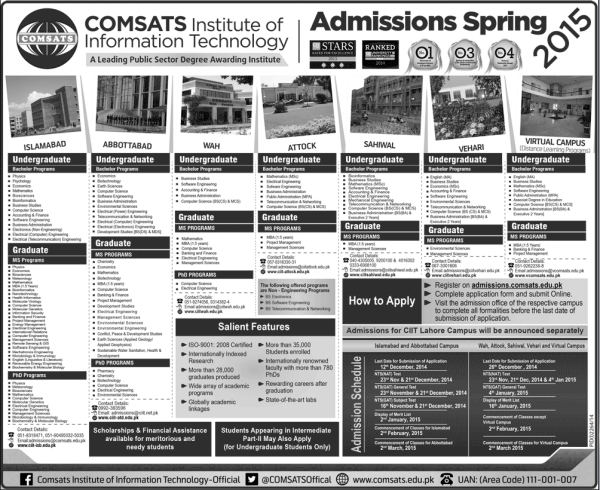 COMSATS University Admission 2017 Entry Test Dates Schedule Application Form Eligibility & How to Apply Online