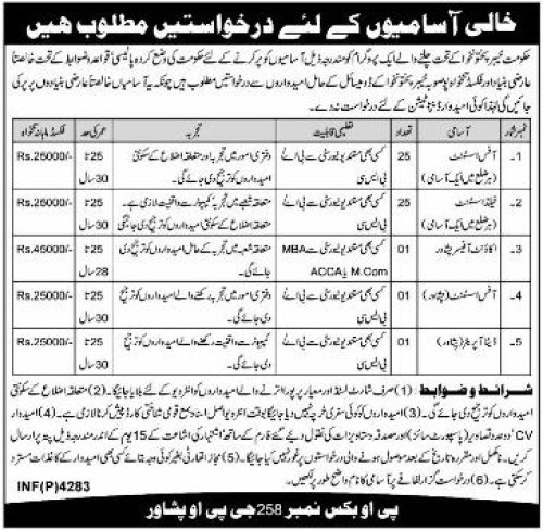 KPK Government jobs 2015 Office & Field Assistant for All Districts Application Form Eligibility Criteria