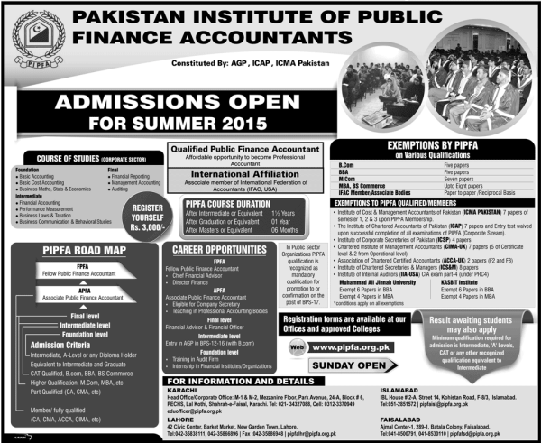 PIPFA Admission Summer 2017 Application Form Eligibility Schedule and Dates