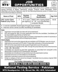 Federal Levy Force, FATA Jobs 2014-15 LDC/Junior Clerk NTS Screening Test Registration Form Eligibility Criteria Last Date