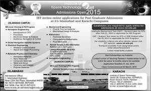 Institute of Space Technology IST Admission 2015 Application Form Eligibility Criteria Last Date Fee Structure