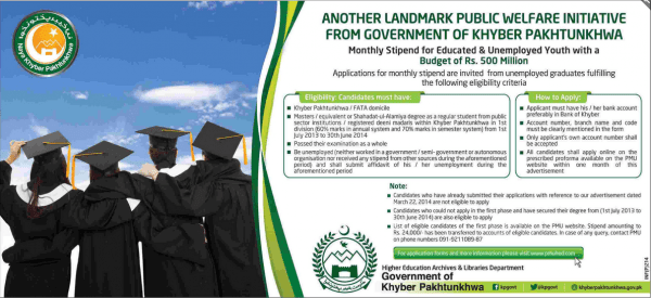 KPK MSYU Public Welfare Monthly Stipend Program for Educated Unemployed Youth Eligibility How To Apply Last Dates