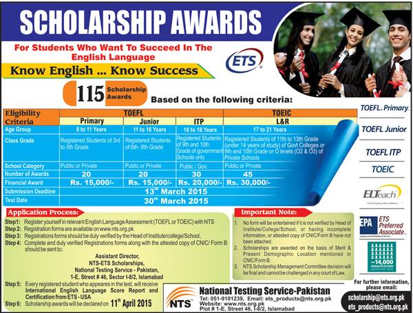 ETS Scholarship Award 2015 NTS Test TOEFL TOEIC Eligibility Application Process Dates and Schedule