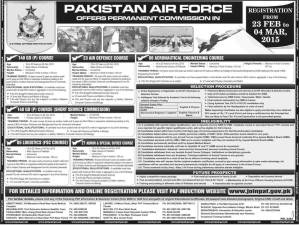 Join Pakistan Air Force PAF Jobs 2015 Online Registration Form As Permanent Commission Officer ISSB Call Letters and Slips
