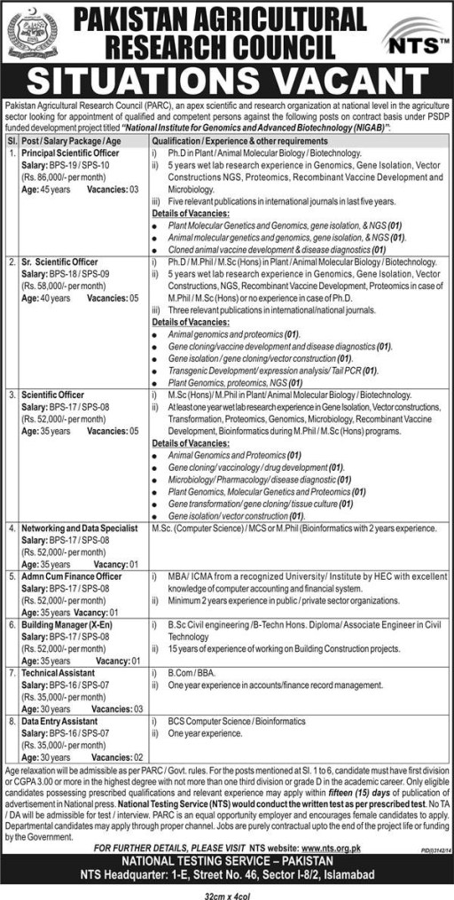 Pakistan Agriculture National Institute NIGAB Jobs 2015 NTS Test Answer key and Result OnlinePakistan Agriculture National Institute NIGAB Jobs 2015 NTS Test Answer key and Result Online