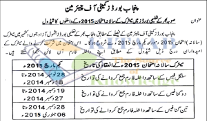 BISE Punjab Board Matric 9th/10th Class Date Sheet 2015 for All Districts