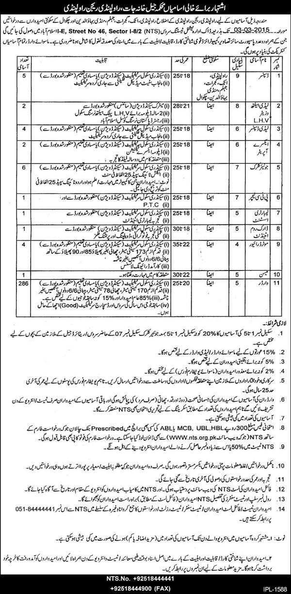 Punjab Jail Police Prison Department Rawalpindi Jobs 2015 Application Form Download Eligibility Written NTS Test Dates/Schedule