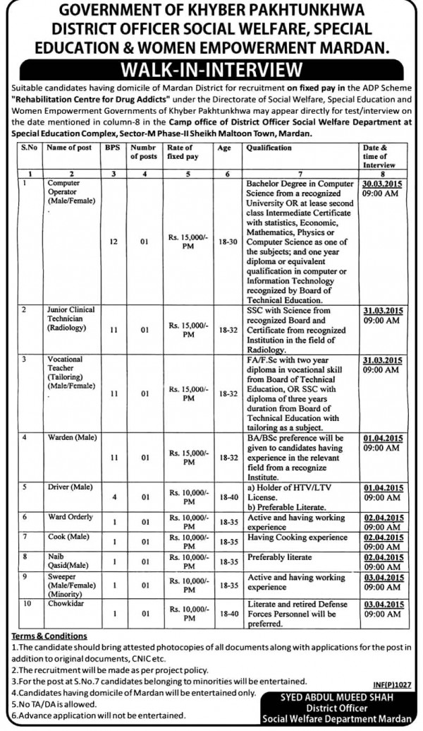 KPK Govt District Officer Social Welfare Jobs 2015 Application Form Interview Dates