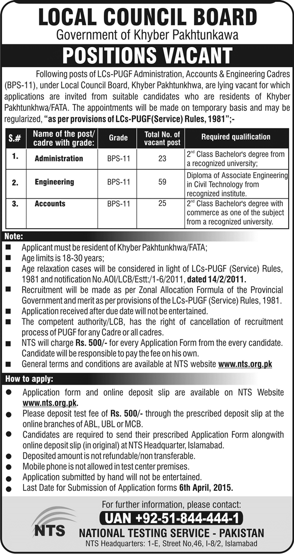 Govt Of KPK Jobs 2015 NTS Test Local Council Board Roll Number Slips List of Candidates