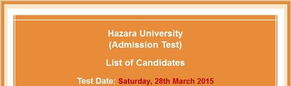 Hazara University Admission 2015 NTS Test Answer Key Result Merit Lists