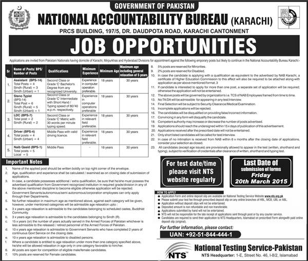 National Accountability Bureau NAB Karachi Jobs 2021 NTS Test Application Form Download Eligibility Selected Candidates