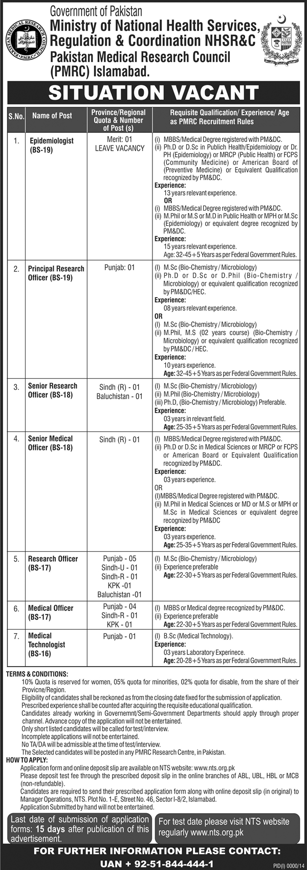 Pakistan Medical Research Council PMRC Islamabad NTS Test