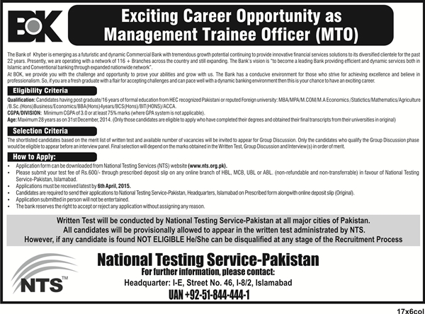 BOK Jobs 2015 NTS Test Bank of Khyber Roll Number Slips Lists of Candidates Date
