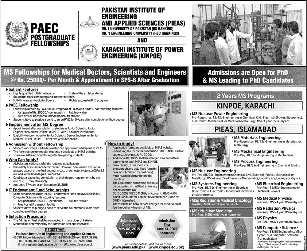 PIEAS University PAEC KINPOE Karachi Admission 2019 Form