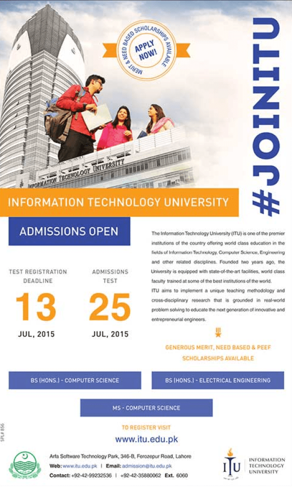 Information Technology University ITU Admission 2015 NTS Test Form Dates Roll No Slips