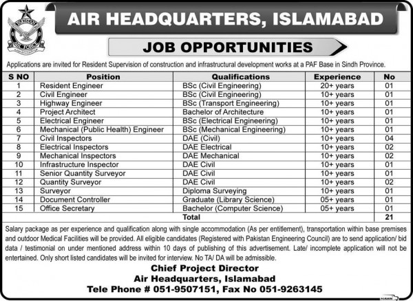 PAF Air Headquarters Islamabad Jobs 2015 Apply Online Procedure Dates and Schedule Registration Form Download