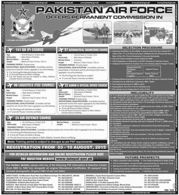 How to Apply Jobs of Permanent Commission 141 gdp 2015 Pakistan Air Force PAF