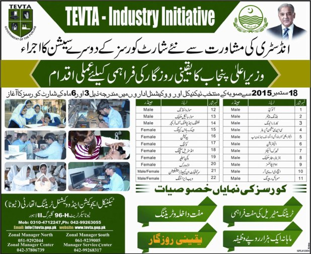 Punjab Govt Tevta Industry Initiative Short Courses 2015 2nd Session Training and Admission Free With Monthly Stipend