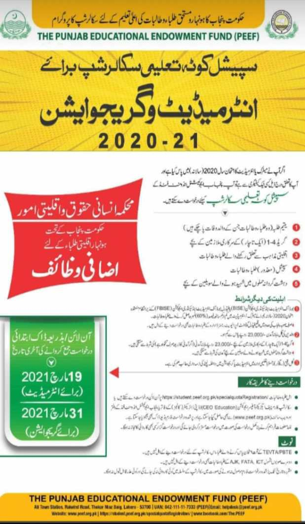 PEEF Scholarships for Intermediate/ Graduation 2021 Application Form Eligibility Criteria and Procedure