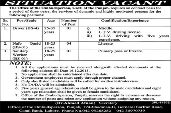 Punjab Ombudsman Lahore Jobs 2015 Application Form Test and Interviews Date