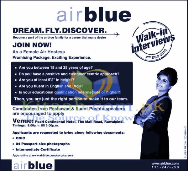 Air Blue Air Hostess Jobs 2015 Female Cabin Crew Walk in Interviews Schedule