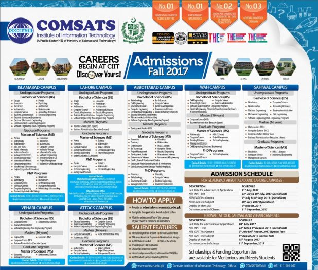 COMSATS University Admission NTS Entry Test 2017 Online Registration Eligibility Result